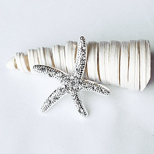 10 pcs Starfish Rhinestone Buckles Wholesale Buckles Crystal Sliders Silver Wedding Invitation Wedding Supplies Napkin Ring BK098