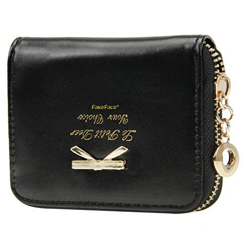 Women Girls Cute Bowknot Waterproof PU Leather Fold Mini Short Wallet Coin Purse Zipper Card Case Holder Clutch Small Handbag Nice Gift by Fakeface (Image #7)