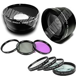 52MM 0.45X Wide Angle Lens + Macro & 2X Telephoto Lens Includes LIFETIME WARRANTY, Lens Caps, Lens Bag + 4 Piece Macro Close Up Lens Set, 3 Piece Filter Kit, DavisMAX FiberCloth for Nikon D5000 D90 D3100 D300 D300s D200 D60 & MORE!