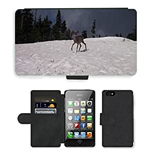 Super Stella Cell Phone Card Slot PU Leather Wallet Case // M00104281 Deer Snow Animals Wildlife Wild // Apple iPhone 4 4S 4G
