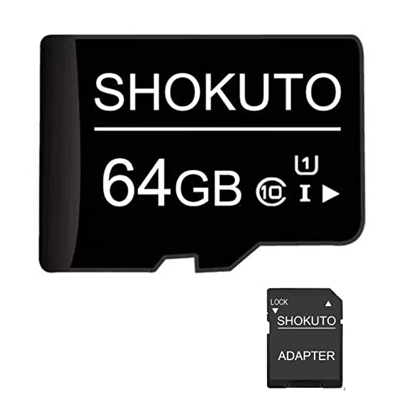 SHOKUTO Tarjeta SD, 64 GB, Tarjeta de Memoria Micro SDHC, Tarjeta TF + Adaptador SD Clase 10, U1
