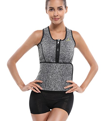 1db49ef2c93 Joyshaper Womens Neoprene Sauna Suit Waist Trainer Vest with Adjustable  Shaper Waist Trimmer Belt (Grey