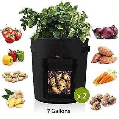 Mixhome 2 Pcs Potato Grow Bag, 7 Gallon Vegetable Planter Bag, Visualized Velcro Window and Handles, Gardening Vegetable Planter Container, Garden Vegetable Growing Bags (Black)