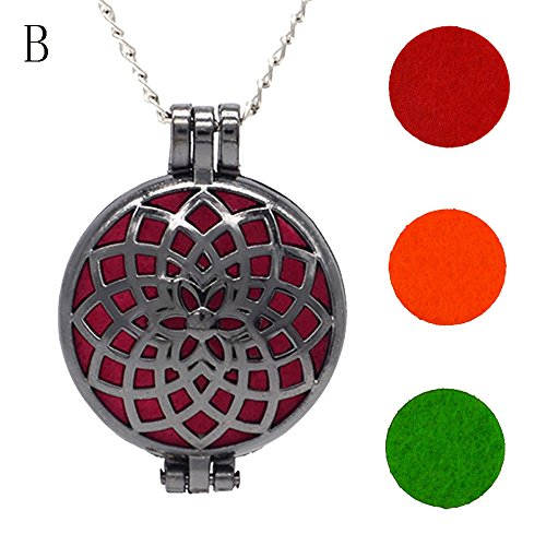 FEDULK Vintage Pendant for Women Hollow Essential Oil Diffuser Necklace and Pad Fragrance Classic Girls Jewelry(B)