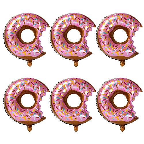 6 Pcs Big Donut Helium Foil Balloons Large Mylar Doughnut Balloon Giant for Birthday Party Decorations Supplies Baby Shower Donut Time ()