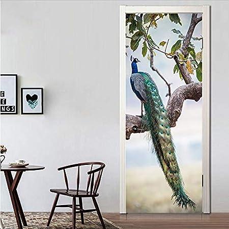 Vivid Colorful Animals Pavo Real Puerta Pegatinas En Ramas Plumas Wallpaper Decal Art Decal Poster Animales Decoración Para El Hogar 3D