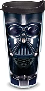 Tervis 1141874 Star Wars - Darth Vader Tumbler with Wrap and Black Lid 24oz, Clear