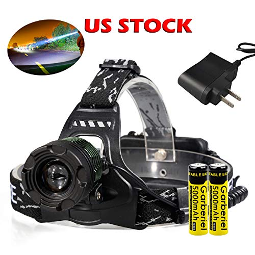 Garberiel LED Headlamp 3000 Lumens 3 Modes Adjsutable Focus Waterproof Rechargeable Headlamp Flashlight for Hiking Hunting Camping Outdoor, Battery Included