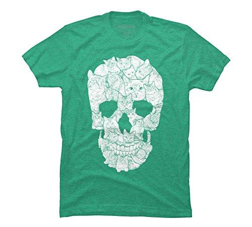Sketchy Cat Skull Men's Medium Lime Green Heather Graphic T -