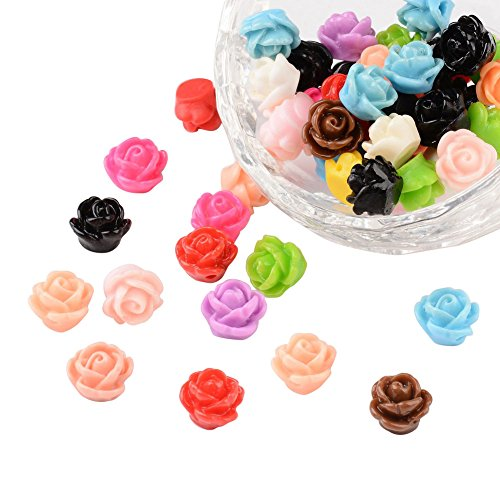NBEADS 1000 Pcs Opaque Resin Beads, Rose Flower, Mixed Color, 9x7mm, Hole: 1mm