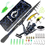 Fishing Rod and Reel Combos, Unique Design with X-Warping Painting, Carbon Fiber Telescopic Fishing Rod with R