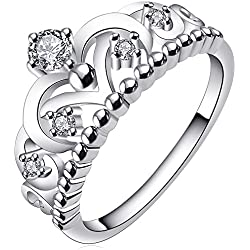 BOHG Jewelry Womens Fashion Silver-Plate Cubic Zirconia CZ Cute Princess Crown Tiara Ring Wedding Band Size 7
