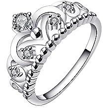 BOHG Jewelry Womens Fashion Silver-Plate Cubic Zirconia CZ Cute Princess Crown Tiara Ring Wedding Band