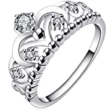 BOHG Jewelry Womens Fashion Silver-Plate Cubic Zirconia CZ Cute Princess Crown Tiara Ring Wedding Band