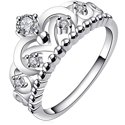 BOHG Jewelry Womens Fashion Silver-Plate Cubic Zirconia CZ Cute Princess Crown Tiara Ring Wedding Band Size 11