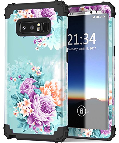 Galaxy Note 8 case,PIXIU Soft Silicone&Hard Shell Solid PC Back,Shock-Absorption&Anti-Scratch Hybrid Dual-Layer Phone case for Samsung Galaxy Note 8 2017 Realeased (Peony)