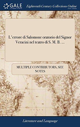 L'Errore Di Salomone Oratorio del Signor Veracini Nel Teatro Di S. M. B. ...