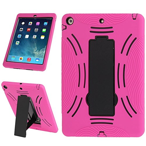 SRY for iPad protection Silicone + Hard Plastic Combination Case with Collapsible Holder for iPad Air simple & fashion ( Color : Magenta )