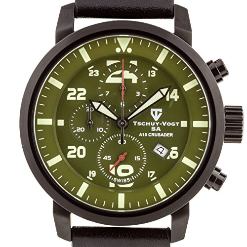 Tschuy-Vogt SA A15 Crusader Mens Swiss Chronograph Watch - Black Genuine Leather Strap, Green Dial, Black Case