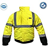 KwikSafety Class 3 High Visibility Bomber Jacket Hoodie Long Sleeve Reflective ANSI Safety, Black Cuffs High Visibility Jackets and Waist with 4 Pockets, Yellow High Visibility Reflective Jacket, L