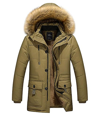Warm M Cotton 5XL Outerwear khaki Zippered Casual Padded Winter Hooded Jacket Men Thicken 5wxHpaqfCn