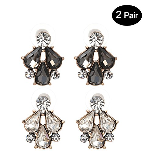 White Swan Costume Diy (TAGOO Multi Color Floral Stud Earring Teardrop Design Crystal Earrings Sets for Women&Girls Wedding/Banquet/Dailywear (Teardrop White+Black))