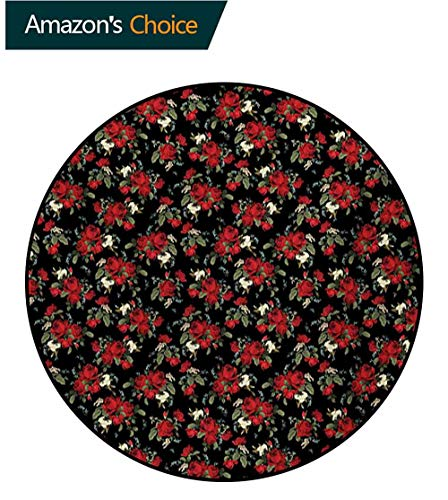 Red and Black Round Area Rug,Shabby Chic Garden Farm Flowers Leaves Roses and Violets Design Design Non-Slip Fabric Round Rugs for Study Room,Round-63 Inch Red Black Olive Green ()