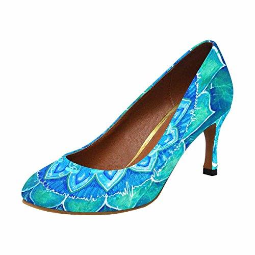 InterestPrint Womens Classic Fashion High Heel Dress Pump Abstract Blue Painted Picture With Circle Pattern, Mandala of Vishuddha Chakra