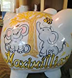 Hand Painted Personalized Elephant Babies Piggy Bank