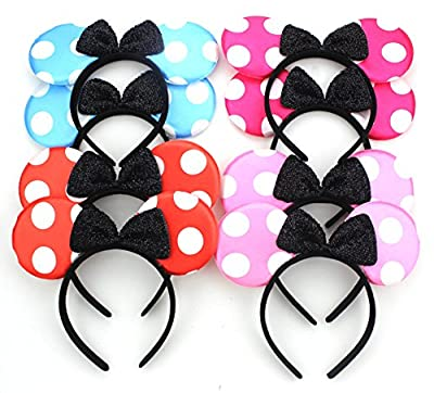 Pack of 8 with 4 kinds - Adorable Style Mickey Mouse Ears Solid Various Style Black and Bow Minnie Headband for Boys and Girls Birthday Party or Celebrations (Pack of 8) from ZICOME