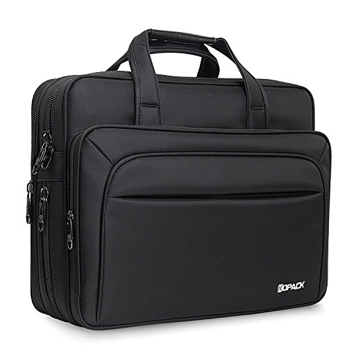 Kopack Large Laptop Briefcase 17 Inch Business Travel bag Expandable/Water Resistant Shoulder Bags Black