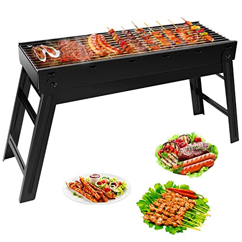 Ledeak Barbecue Charcoal Grill, Portable Folding Lightweight BBQ Grill, Stainless Steel Smoker Grill with Remove Net, Easy to Assemble and Clean, Perfect for Outdoor Camping Picnics Cooking Hiking