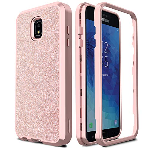 AMENQ Case for Galaxy J7 Refine/J7 Star/J7 2018/J7 Crown J737/J7 Aura Hybrid Heavy Duty Glitter Design with Shockproof Premium Rubber Bumper and Rugged PC Protective Armor Phone Cover (Rose Gold)