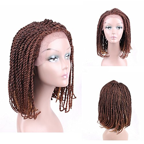 Braided Wigs Bob Style for Black Women Glueless Senegalese Twist Braided Lace Bob Wigs with Baby Hair for Daily Wear Half Hand Tied 16inches #27/30 ()