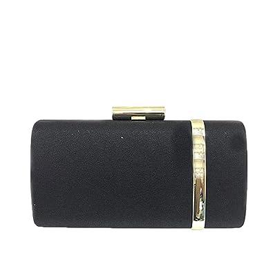 a78db3a7950 EROUGE Women Bridal Metallic Evening Clutches Designer Handbag Sparking  Solid Clutch Purses (Black)