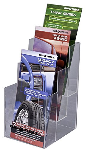 Clear-Ad - LHF-S103 - Acrylic 3 Tier Trifold Brochure Holder - Plastic Literature Display (Pack of 4) (Tier Plastic)