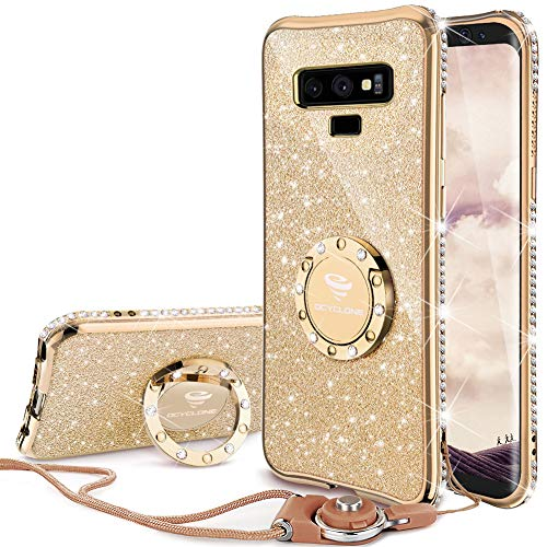 OCYCLONE Galaxy Note 9 Case, Glitter Cute Phone Case for Women Girls with Kickstand, Bling Diamond Rhinestone Bumper with Ring Stand Compatible with Galaxy Note 9 Case for Girl Women - Gold