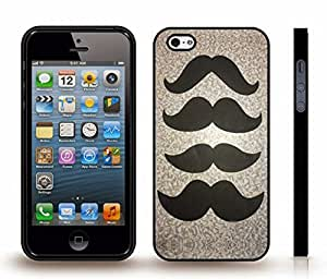 iStar Cases? iPhone 4 Case with Various Mustaches on a Fancy Pattern Background , Snap-on Cover, Hard Carrying Case (Black)