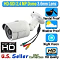 HD SDI 2.4MP 1080P Bullet 3.6mm Wide Lens Angle Vandal Weather Proof 24IR Night Vision BNC Connection Outdoor CCTV White Camera 2.4 Megapixel