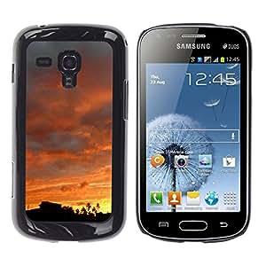 Qstar Arte & diseño plástico duro Fundas Cover Cubre Hard Case Cover para Samsung Galaxy S Duos / S7562 ( Sky Sunset Sunrise View Trees Forest Clouds)