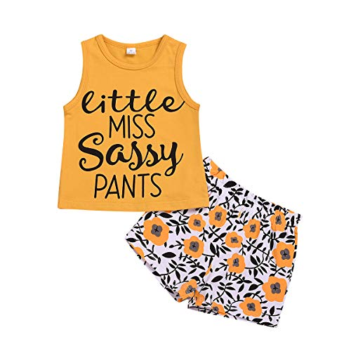2Pcs/Set Toddler Kids Baby Girl Sleeveless T-Shirt Top+Sunflower Denim Jeans Shorts Outfits (Yellow + White, 5-6 Years Old)