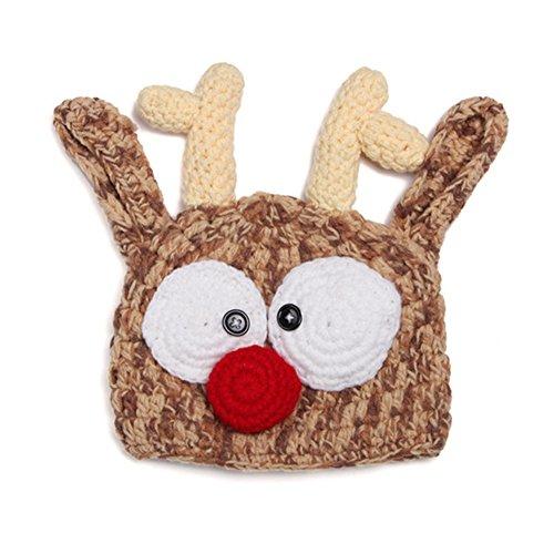 Baby Thanksgiving Day Halloween Turkey Lion Pumpkin Deer Beanie Hat Photo Props (Large, Deer) ()