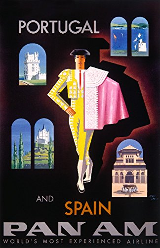Pan Am - Portugal and Spain - (artist: Carlu) - Vintage Advertisement (12x18 SIGNED Print Master Art Print w/ Certificate of Authenticity - Wall Decor Travel Poster) by Lantern Press