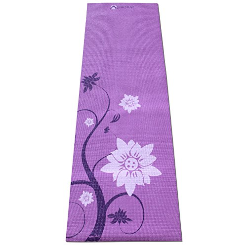 Aurorae Printed Extra Thick 5mm and 72' Long Premium Eco Safe Yoga Mat with Non Slip Rosin