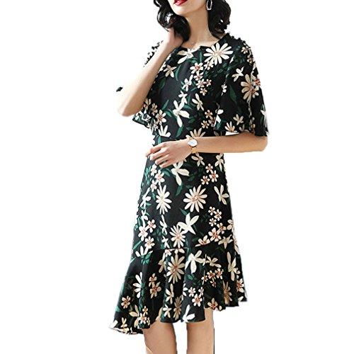 Printed Dress Dress Elegant High Waist Sleeve cotyledon Short Women`s 5gxn18A