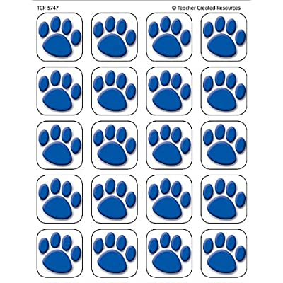 Teacher Created Resources, 120 Blue Paw Prints Stickers (5747): Office Products