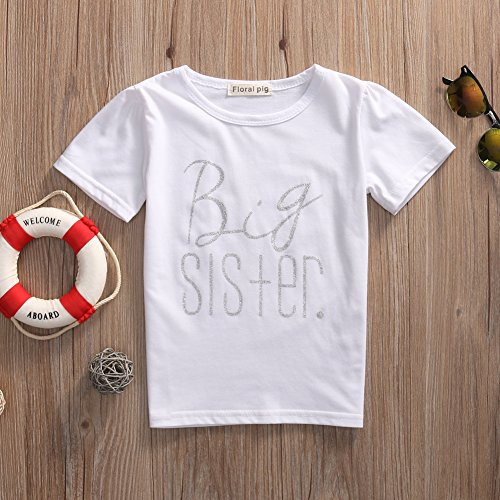 Baby Boys Brother Letter Print Romper Kids Sister T-shirt Matching Clothes Outfits (2-3Y, Girl White)
