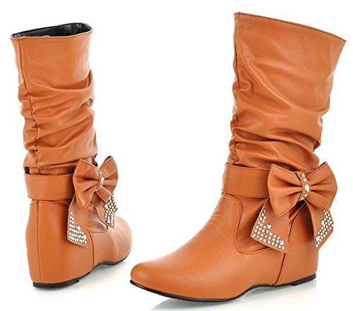 Comfortabele Dameshoeven Van Idifu Voor Dames Halfhoge Kalfslaarzen Met Strikjes Hakken Geel