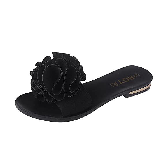 Women Sabdals For Summer Anshinto Women Beach Shoes Flower Flat Sandals Slip Resistant Slippers Sandal (37 Black)