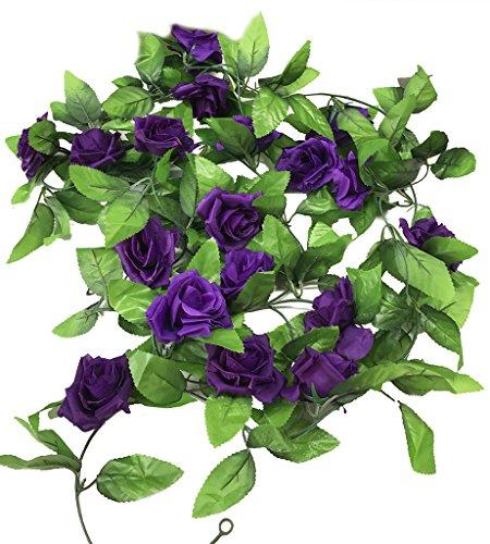 Miracliy 2 Pack 15 FT Fake Rose Vine Flowers Plants Artificial Flower Home Hotel Office Wedding Party Garden Craft Art Décor, Dark Purple